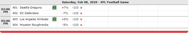 XFL Saturday Games
