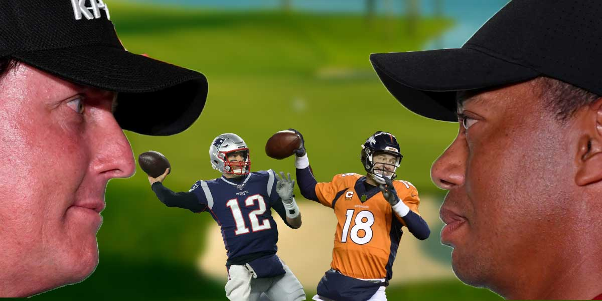 Peyton Manning, Tom Brady, Tiger Woods and Phil Mickelson