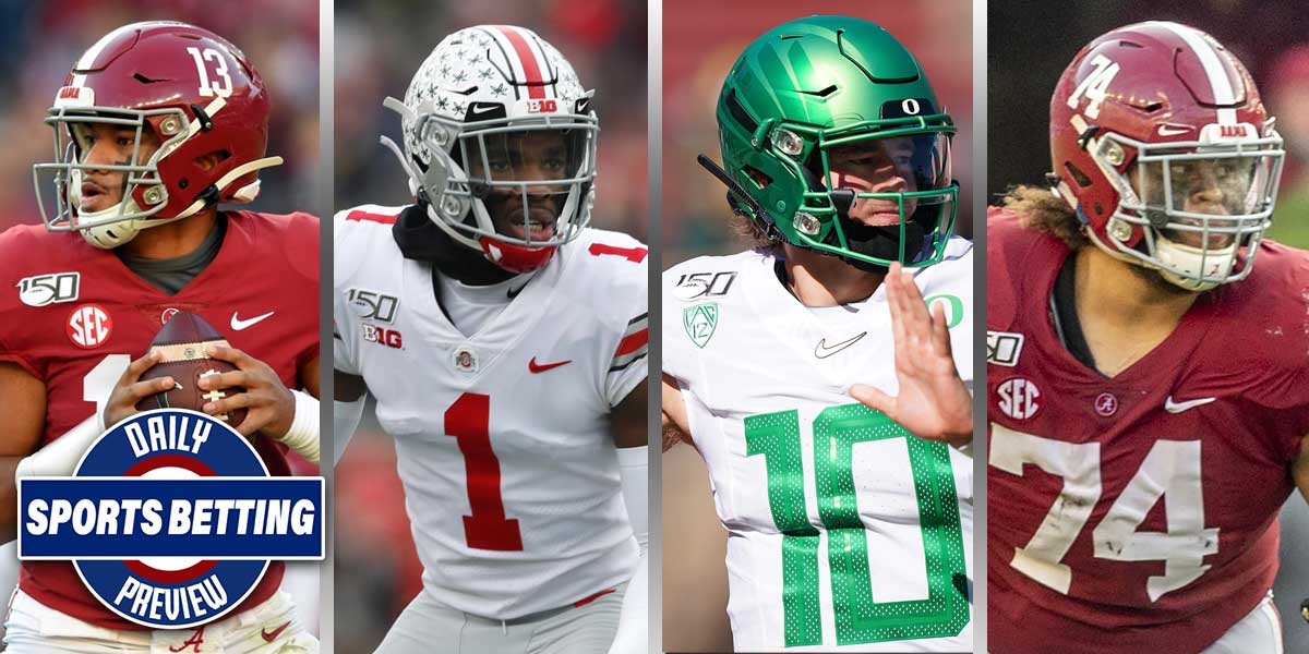 Tua Tagovailoa, Jeff Okudah, Justin Herbert and Jedrick Wills